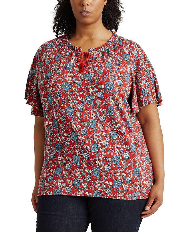 Lauren Ralph Lauren Plus Size Flutter Sleeve Top