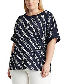 Lauren Ralph Lauren Plus Size Split Sleeve Top