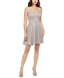 Juniors' Halter Shiny Dress