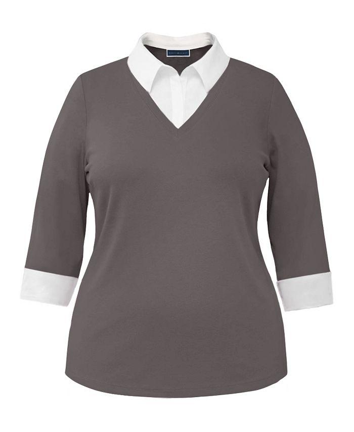 Karen Scott - Plus Size Cotton Layered-Look Collared Top