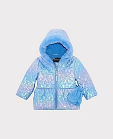 Toddler Girls Irridescent Quitled Heart Jacket with Mittens