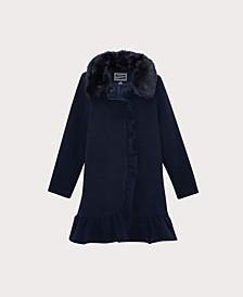 Big Girls Ruffle Dress Coat with Collar