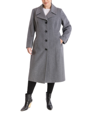 1930s Style Coats, Jackets | Art Deco Outerwear Anne Klein Plus Size Single-Breasted Maxi Coat $207.00 AT vintagedancer.com