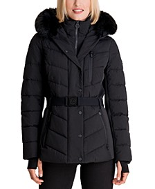 Belted Faux-Fur Trim Hooded Puffer Coat