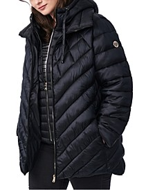 Plus Size Bibbed Hooded Packable Puffer Coat