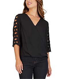 Juniors' Lattice-Sleeve Faux-Wrap Top