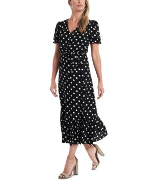 1930s Day Dresses, Tea Dresses, House Dresses CeCe Polka-Dot Tie-Waist Midi Dress $139.00 AT vintagedancer.com