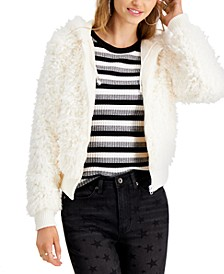 Juniors' Faux-Fur Hooded Jacket