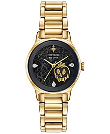 Eco-Drive Women's Evil Queen Diamond-Accent Gold-Tone Stainless Steel Bracelet Watch 28mm