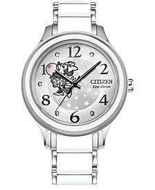 Eco-Drive Women's Minnie Stainless Steel & White Silicone Bracelet Watch 36mm