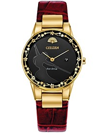 Eco-Drive Women's Mulan Red Leather Strap Watch 30mm