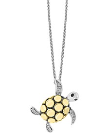 "EFFY® Diamond Sea Turtle 18"" Pendant Necklace (1/20 ct. t.w.) in Sterling Silver & 18k Gold-Plate"