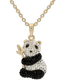"""Swarovski Crystal Panda 18"""" Pendant Necklace in 14k Gold-Plated Sterling Silver, Created for Macy's"""