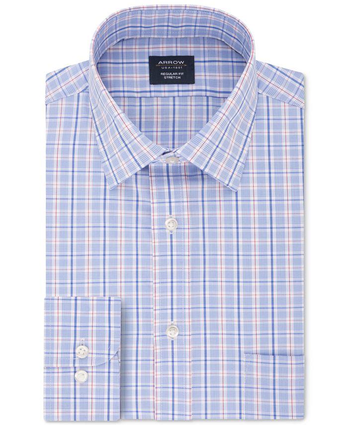 Arrow - Men's Classic/Regular-Fit Non-Iron Performance Stretch Plaid Dress Shirt