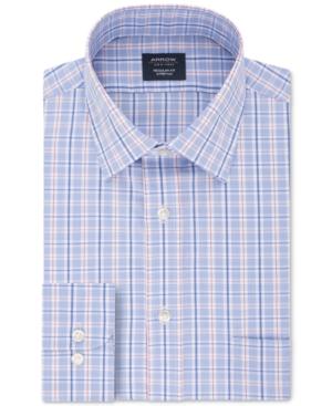 Men's Classic/Regular-Fit Non-Iron Performance Stretch Plaid Dress Shirt