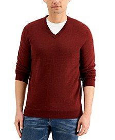 Men's Solid V-Neck Merino Wool Blend Sweater, Created for Macy's