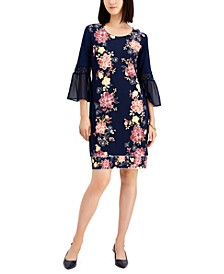 Sweet Jasmin Floral-Print Chiffon-Sleeve Dress, Created for Macy's