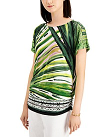 Abstract-Print Studded Top, Created for Macy's