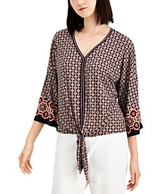 Plus Size Printed Tie-Front Top, Created for Macy's
