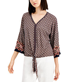 JM Collection Plus Size Printed Tie-Front Top, Created for Macy's
