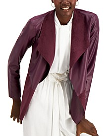 Petite Draped Open-Front Pleather Jacket, Created for Macy's