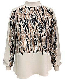 Mockneck Abstract-Print Blouse, Created for Macy's