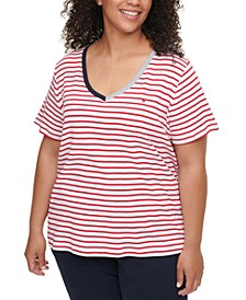 Plus Size Cotton Striped V-Neck Top