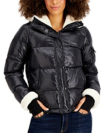Jane Fleece-Trim Hooded Down Puffer Coat