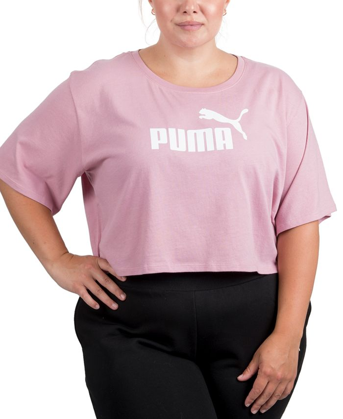 Puma - Plus Size Cropped Cotton Logo T-Shirt