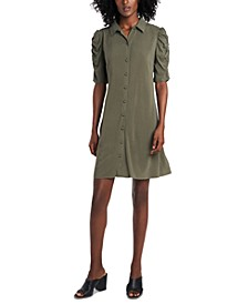 Ruched-Sleeve Shirtdress