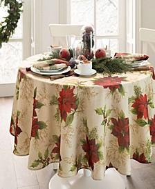 Festive Poinsettia Holiday Oval Tablecloth