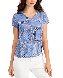 Petite Printed Cotton V-Neck Top, Created for Macy's