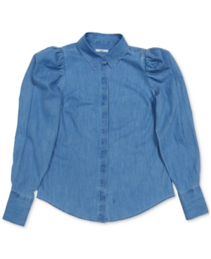 Cottagecore Clothing, Soft Aesthetic Bar Iii Chambray Puff-Shoulder Shirt Created for Macys $29.75 AT vintagedancer.com