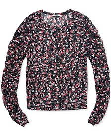 Floral-Print Fine-Mesh Top, Created For Macy's