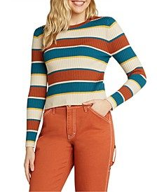 Juniors' Striped Ribbed Crewneck Sweater