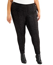 Plus Size Snake-Embossed Compression Pants