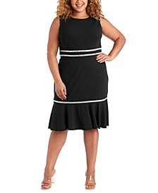Plus Size Rhinestone-Detail A-Line Dress