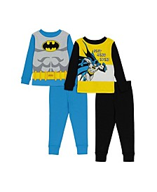 Batman Toddler Boys Batman 4-Piece Pajama Set