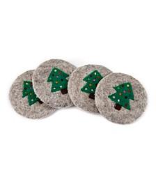 Wool Tree Coasters - set of 4