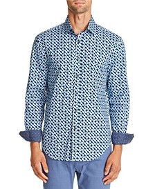 Tallia Men's Slim-Fit Black/Blue Geo Long Sleeve Shirt and a Free Face Mask With Purchase