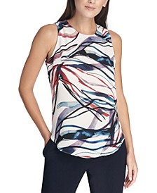 Sleeveless Abstract-Print Top