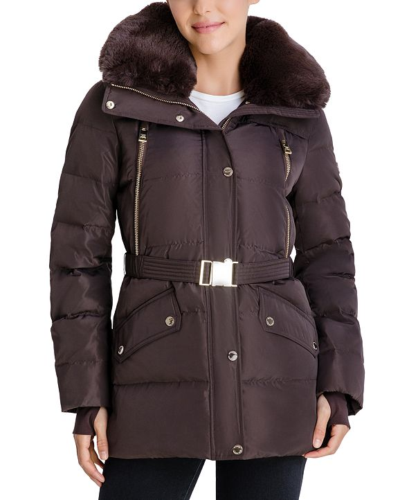 Michael Kors Belted Faux-Fur-Trim Hooded Puffer Coat, Created for Macy's