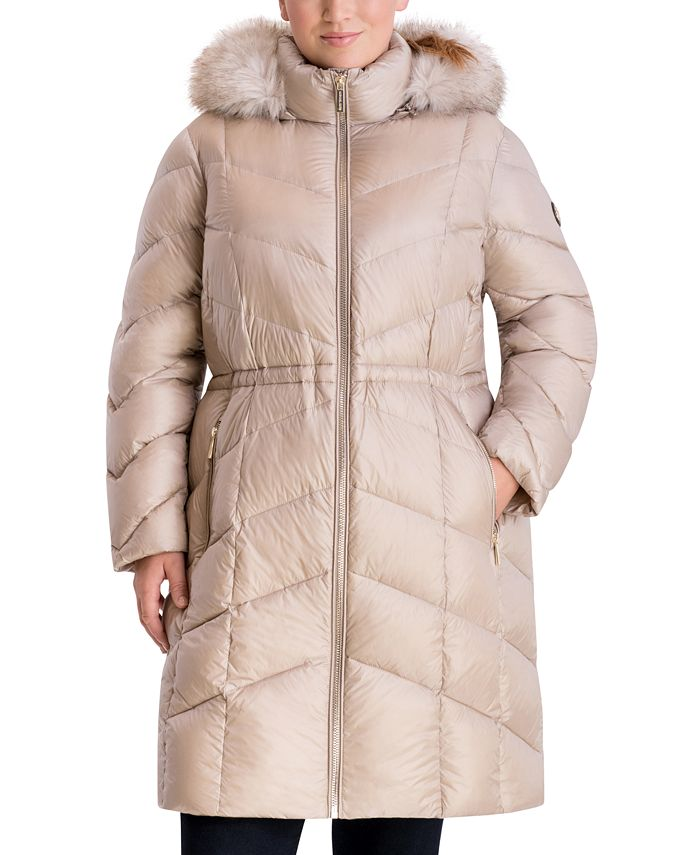 Michael Kors - Plus Size Faux-Fur-Trim Hooded Puffer Coat