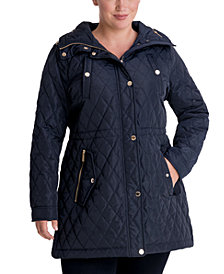 Michael Michael Kors Plus Size Hooded Quilted Anorak Coat, Created for Macy's