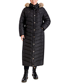 Michael Michael Kors Plus Size Maxi Faux-Fur Trim Hooded Down Puffer Coat, Created for Macy's