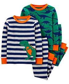 Toddler Boy 4-Piece Dinosaur Snug Fit Cotton PJs