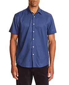 Tallia Men's Slim-Fit Performance Stretch Navy Dot Short Sleeve Shirt and a Free Face Mask With Purchase