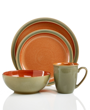 Denby Dinnerware, Duets Sage and Paprika 4 Piece Place Setti