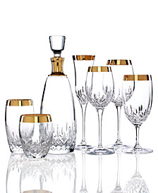 Waterford Stemware and Barware, Lismore Essence Wide Gold Sets of 2 Collection