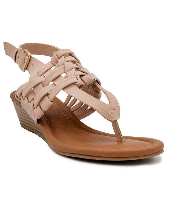 Sugar Women's Simone Woven Wedge Thong Sandals